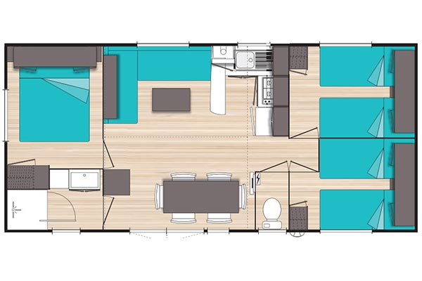 Hébergement Mobil-home 6/8 pers. - camping Blue Océan