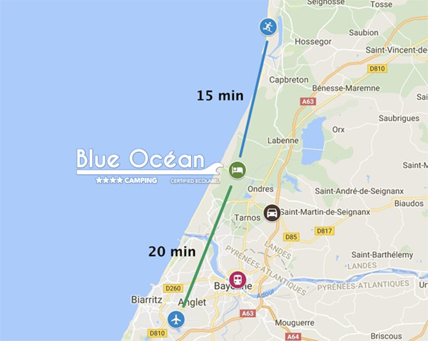 localisation camping espace blue ocean entre hossegor et biarritz